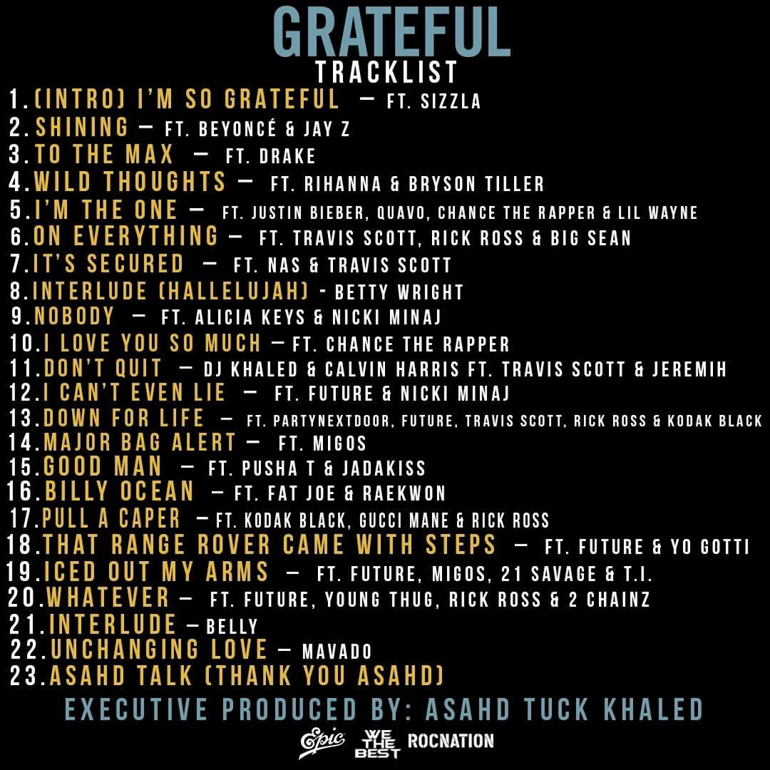 DJ KHALED GRATEFUL Tracklist