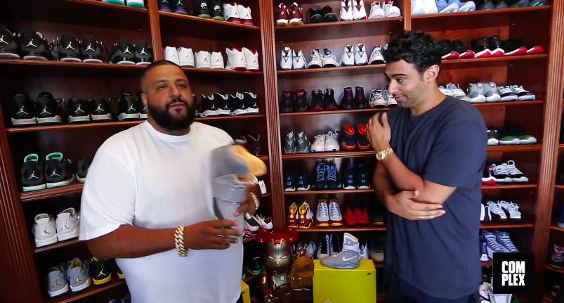 Dj Khaled shoe closet with J.L Puma